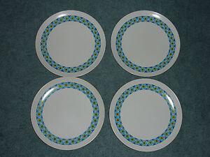 Image is loading Vintage-Set-of-4-Texas-Ware-Picnic-Plates- & Vintage Set of 4 Texas Ware Picnic Plates Blue Green Melmac Melamine ...