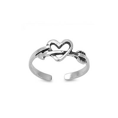 Solid 925 Sterling Silver Heart and Arrow Adjustable Size Toe Ring
