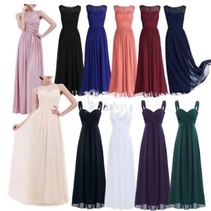 Women-039-s-Bridesmaid-Dress-Long-Chiffon-Lace-Evening-Formal-Party-Ball-Gown-Prom