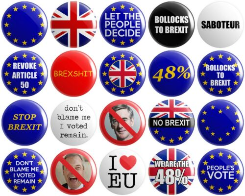 20 x Anti Brexit BUTTON PIN BADGES 25mm 1 INCHPeople/'s Vote Europe UK