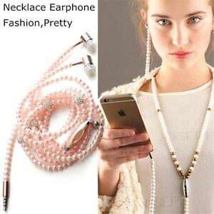 New-Hot-Chic-Jewelry-pearl-Necklace-Earphones-Mic-Beads-3-5mm-In-ear-Headphone