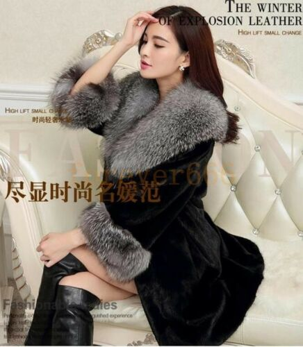 Winter Luxus Damenjacke Fuchspelz Wintermantel Elegant Kunstpelz Mantel Trend
