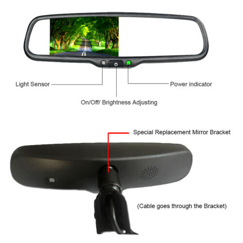 14mm Auto Dimming TFT LCD Rear View Mirror Monitor w// Rear Camera Night Vision