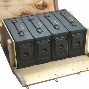 Image is loading 4-M19A1-30cal-Ammo-Cans-Ammo-Box-in-  sc 1 st  eBay & 4 - M19A1 30cal Ammo Cans / Ammo Box in Military Surplus Wood Ammo ... Aboutintivar.Com