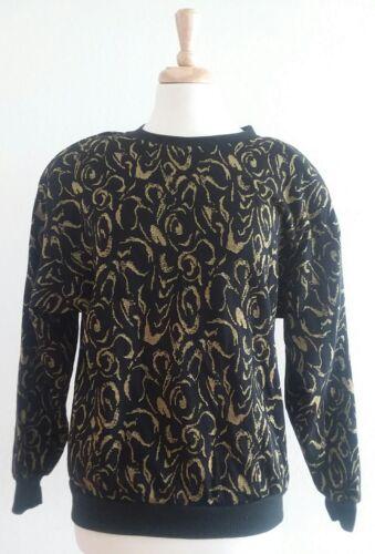 Vintage LE JUPE Women's Black & Gold Sweater