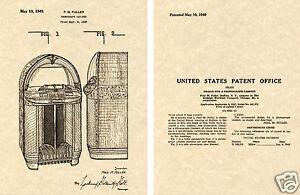 Wurlitzer Modèle 1100 Juke-box 1949 États-unis Verni Estampe Prêt à Cadre