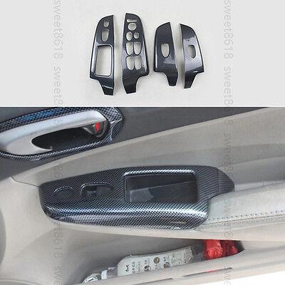 4x Carbon Fiber Style Handle Door Bezel Cover Trim for Honda Civic 2006-11 2008