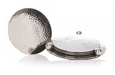 S/4 Silver Stainless Steel Round Drinks Table Coasters Gift Set & Storage Case