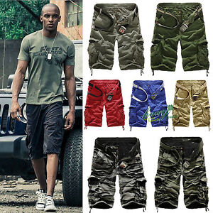 Herren-Cargo-Capri-Shorts-Bermuda-Jeans-Kurze-Hose-Sommer-Vintage-Short-Hosen-36