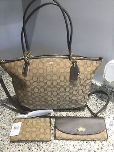 NWT COACH OUTLINE KELSEY With Matching Accessories. F36220/F53538/F58033. Brown.