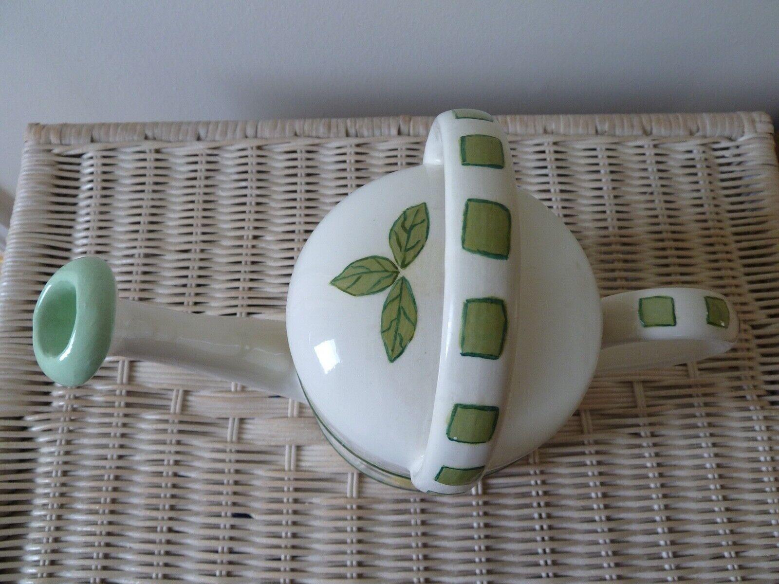 Handpainted Ceramic Watering Can. 31cm x 23cm x 13cm. Display/use. Green/Lemons