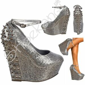 Shoes Party Spikes Platform Wedge Studs Glitter Size Womens Strap Sparkly Ankle nIqBXX