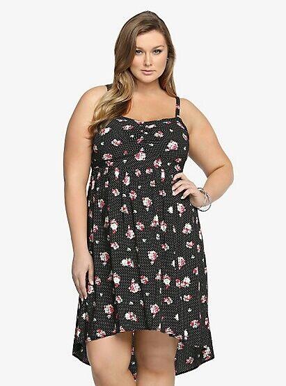 Torrid damen Plus Größe 4 4X Polka Dot Floral Hi-Lo Tank Dress (QQQ18)