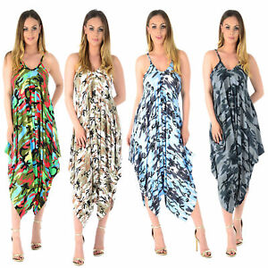 Women-Ladies-Lagenlook-camouflage-Army-Cami-Strappy-Baggy-Harem-Jumpsuit-Romper