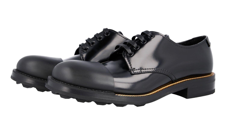 Luxury PRADA schnuershoes Derby Cap Toe 2EG190 Black Rubberized New 9 43 43,5