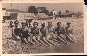 Dettagli Su Foto Con Gruppo Di Ragazze In Riva Al Mare A Loano Anni 40 Circa