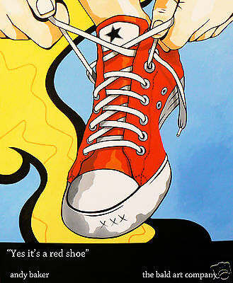 converse red shoe art painting street  by andy baker on canvas signed