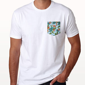 Pocket Print Pattern Hipster Colour Style Tee Tropical Fun Design