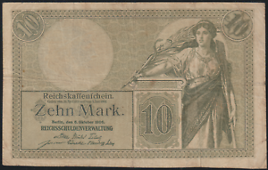 GERMANY-BANK-NOTE-1906-10-MK-FOLDED-NO-TEAR-NO-HOLE