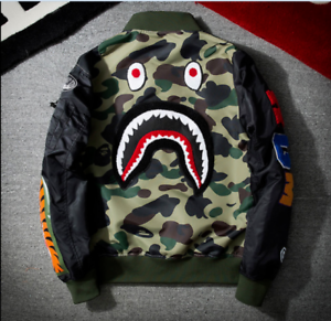 Men-BAPE-Japan-Shark-Head-Flight-Bomber-Coat-Zip-Aape-Jacket-MA1-Army-Camouflage