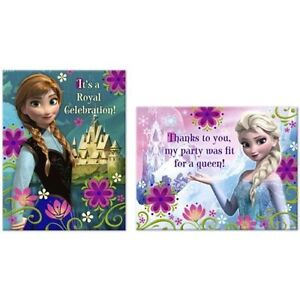 Image Is Loading DISNEY FROZEN BIRTHDAY PARTY INVITATIONS INVITES THANKYOU CARDS
