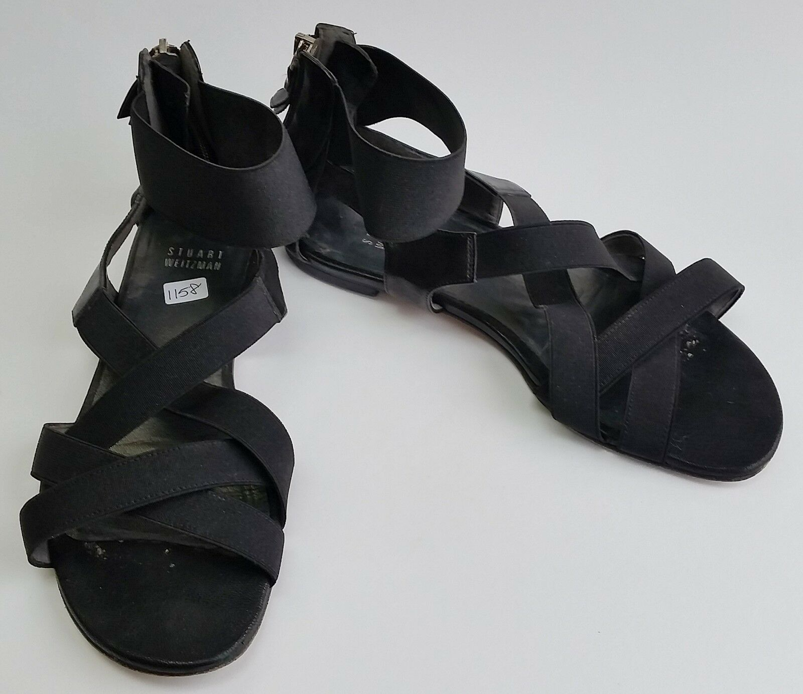 Stuart Weitzman shoes Sandals Black Flats Zipper at Heel Strappy Womens Size 7.5