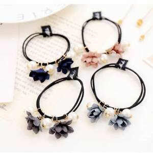 Image is loading Pearl-Flower-Hair-Ring-Hair-Accessories-Sweet-Rubber- 9a15ee455fe