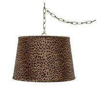 Upgradelights Leopard Print 16 Inch Drum Portable Swag Lamp Shade