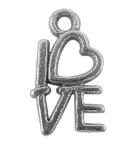 perles,fimo-bc145 Lot de 20 breloques LOVE en métal  métal argenté vieilli