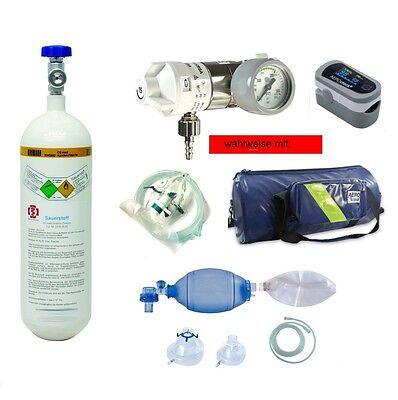 Sauerstoffflasche 2 l med Sauerstoff Druckminderer Sauerstoffmaske Beatmung