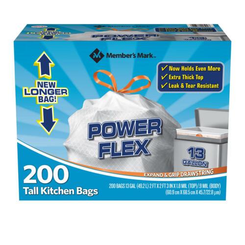 13 Gallon Member/'s Mark Power Flex Tall Kitchen Drawstring Original Trash Bags