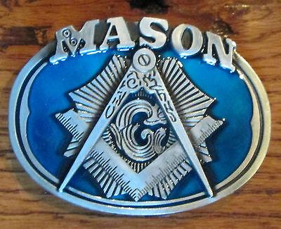 Mason Logo Freemason Masonic Enamled Blue Belt Buckle