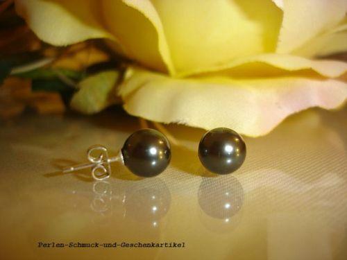 Angebot Ohrstecker 925er Silber Tahiti Schwarzgrün aus MuschelkernPerlen 8mm TOP