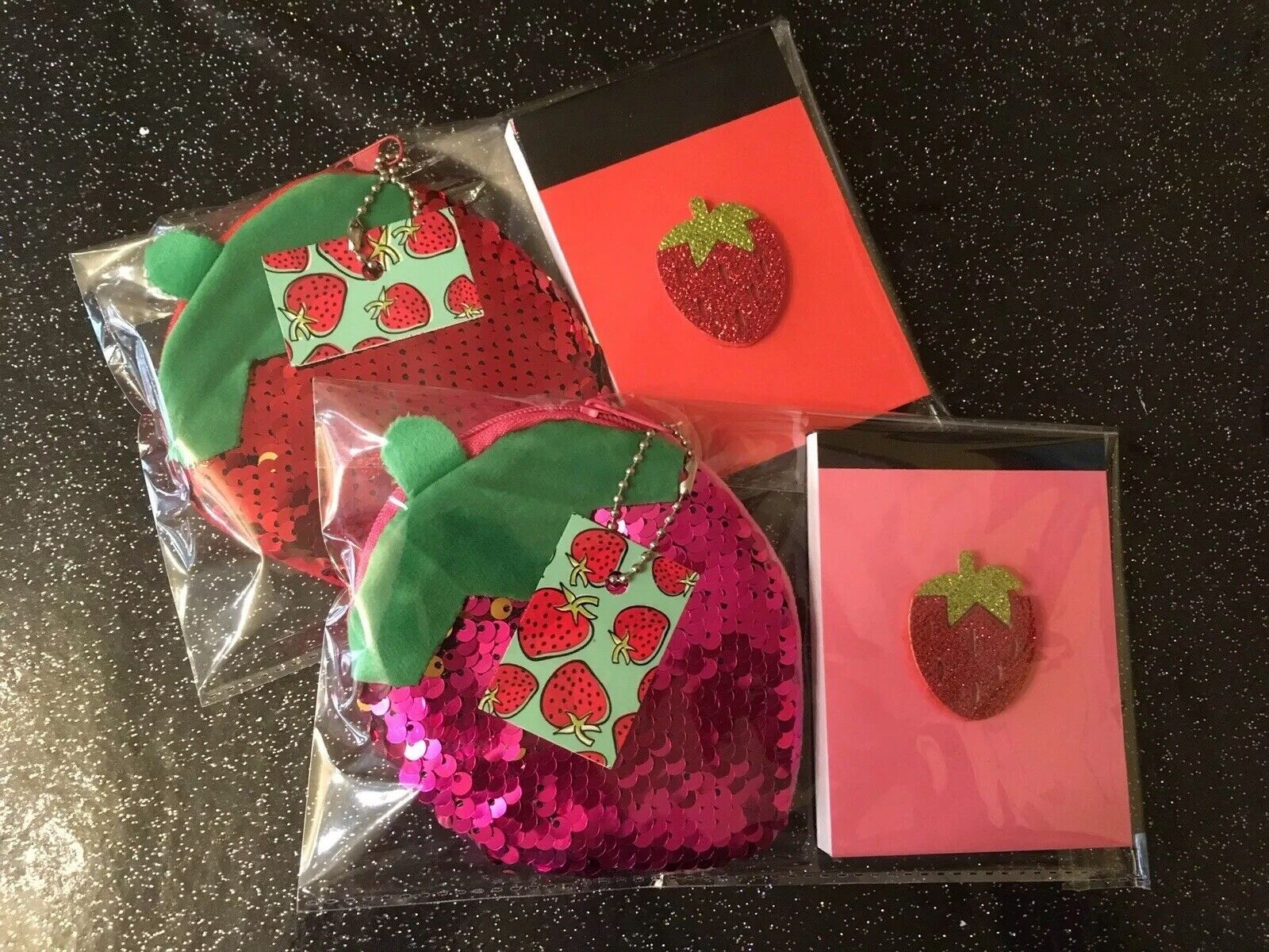 Retro 🍓Strawberry Sequin Purse + Notebook Red Or Pink 2pc Gift Set