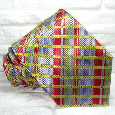 Cravatta Tartan Checks 100% Seta Made In Italy Multicolore Business Informale Per Soddisfare La Convenienza Delle Persone