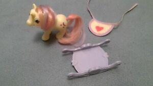 My Little Pony Baby Moondancer Vintage 1984 + Bib, Rocker Hasbro Original Owner