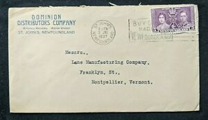 1937-Dominion-Distributors-Company-Newfoundland-Advertising-Cover-to-Vermont-USA