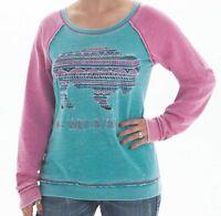 Cowgirl Tuff Women's Fleece Buffalo Turquoise Pink Burnout Sweatshirt H00453