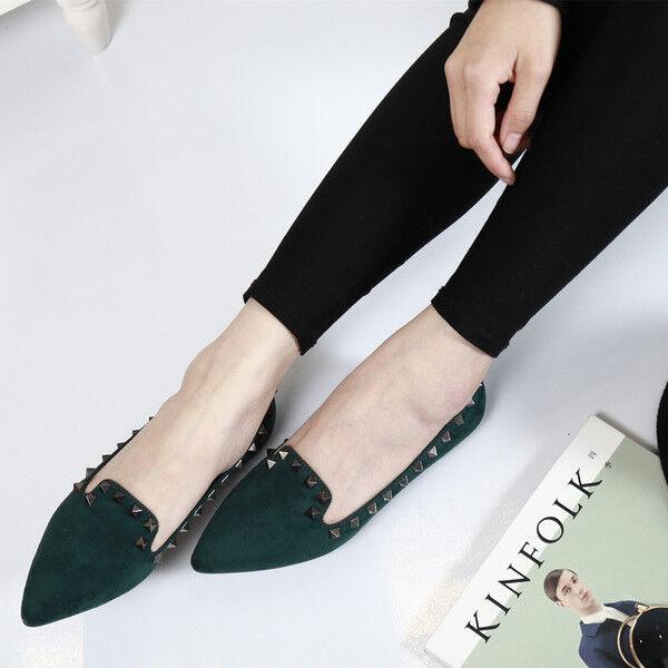 Bailarinas mocasines zapatos de mujer elegantes verde talón talón verde 2.5 cm cómodo 1382 9910d9