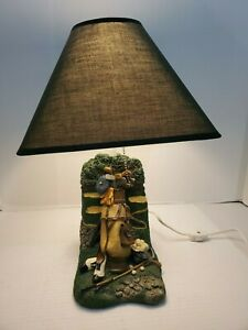 Golf Course Desk Lamp With Shade Scenery Bag Clubs Shoes Green Flag Ball Trap