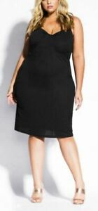 CITY-CHIC-Dress-Plus-Size-22-XL-Little-Black-LBD-Sleeveless-Lined-Twist-Front