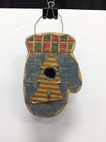 Christmas Tree Ornament Distressed Wood Hanging Blue Green Red Mitten Birdhouse
