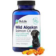 NuLife Natural Fish Oil Supplements Pet Health - Premium Wild Alaskan Salmon Oil
