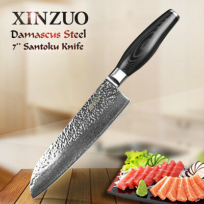 "XINZUO Damascus kitchen knife 7"" Japanese chef knife santoku knife kitchen tool"