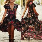 ZANZEA Women Floral V Neck Cocktail Asymmetric Print Split Party Long Maxi Dress
