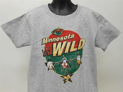 "Diplomatic New Minnesota Wild ""disney"" T-shirt Kids S Small Size 4 Nhl 62ob Sports Mem, Cards & Fan Shop"