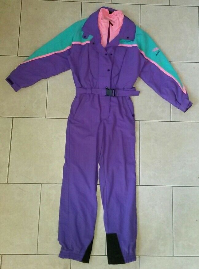 RARE vtg 80s neon  NORTH FACE snow suit GORETEX one piece PURPLE LABEL womens 10  cheaper prices