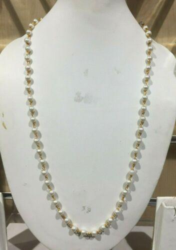 Nuevos Dorados Con Perlas Blancas Cadena Collar Joyería India Africana