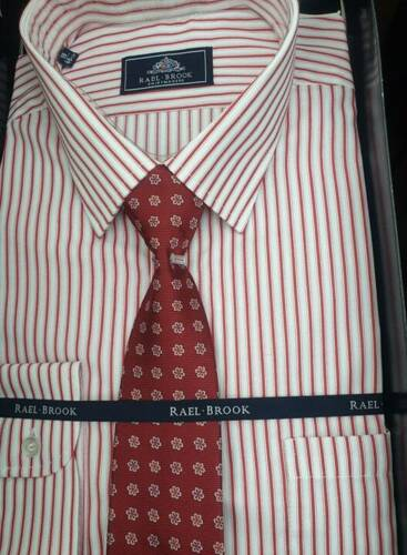 """RAEL BROOK BOXED SHIRT AND TIE RED STRIPE 4492 18/""""18.5/""""19/""""19.5/""""20/""""21/"""""""