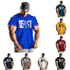 Men-Gym-Beast-Bodybuilding-Fitness-Sport-Workout-Casual-Cotton-T-shirt-Tee-Vest
